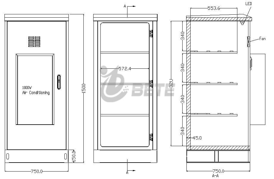 BT757517501BT IP55 1000W Air Conditioner Outdoor Battery Cabinet