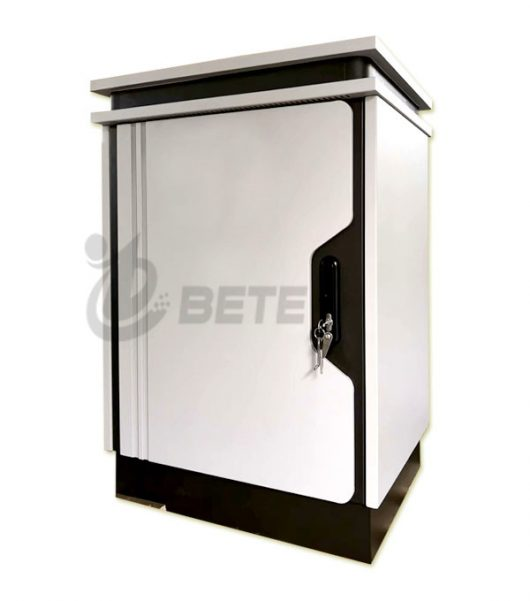 IP55 Fans Cooling Galvanized Steel Single Wall Outdoor Telecom Cabinet 23U Height