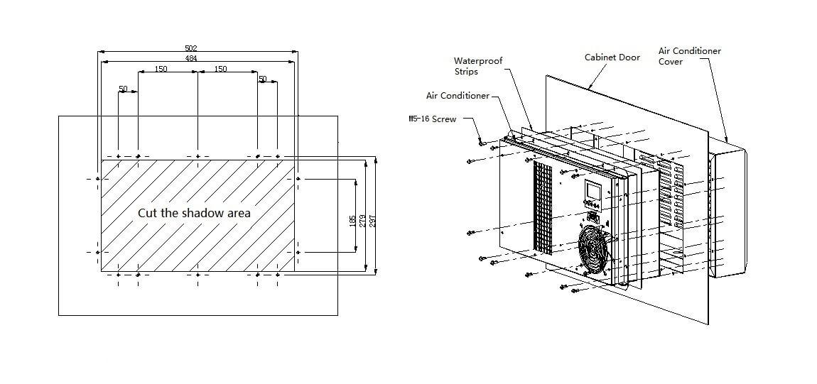 BTA400LT-G 400W IP55 AC 50HZ Cabinet Air Conditioner For Telecom Cabinet