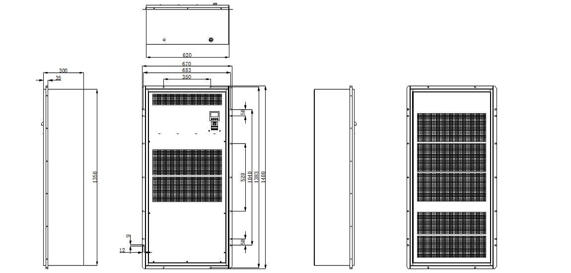 IP65 5000W Air Conditioner Dimensions