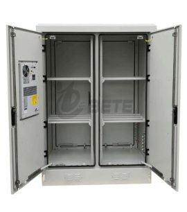Two Compartments Galvanized Steel Outdoor Battery Cabinet With Air Conditioner Cooling And Fans