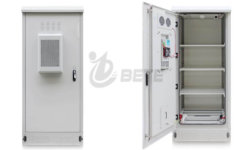 IP55 Whetherproof outdoor cabinet Galvanized Steel Battery Cabinet 4 Battery Shelves