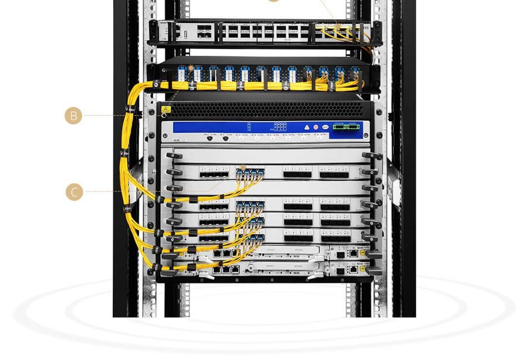 12x MTP-8 to 24x LC Quad, 96 Fibers OS2 Single Mode FHU 1U Breakout Patch Panel Flat, 40G/100G to 10G/25G