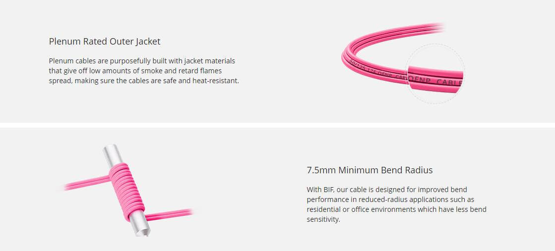 1m (3ft) MTP Female 12 Fibers Type B Plenum (OFNP) OM4 50/125 Multimode Elite Trunk Cable Magenta