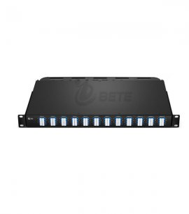 12x MTP-8 to 24x LC Quad, 96 Fibers OS2 Single Mode FHU 1U Breakout Patch Panel Flat, 40G/100G to 10G/25G