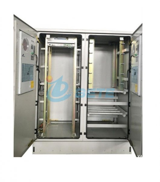 IP55 OUTDOOR TELECOMMUNICATION CABINET TWO COMPARTMENTS 19 INCH RACKS AND BATTERY SHELVES
