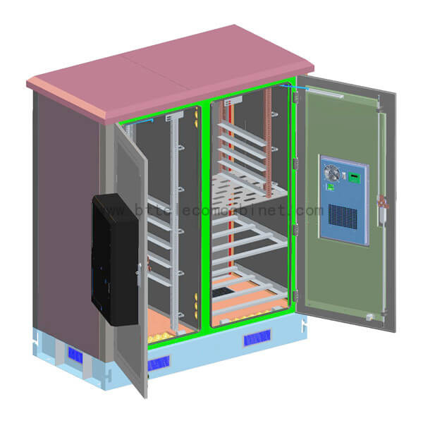 Two-compartment base station 19-inch telecommunications enclosure