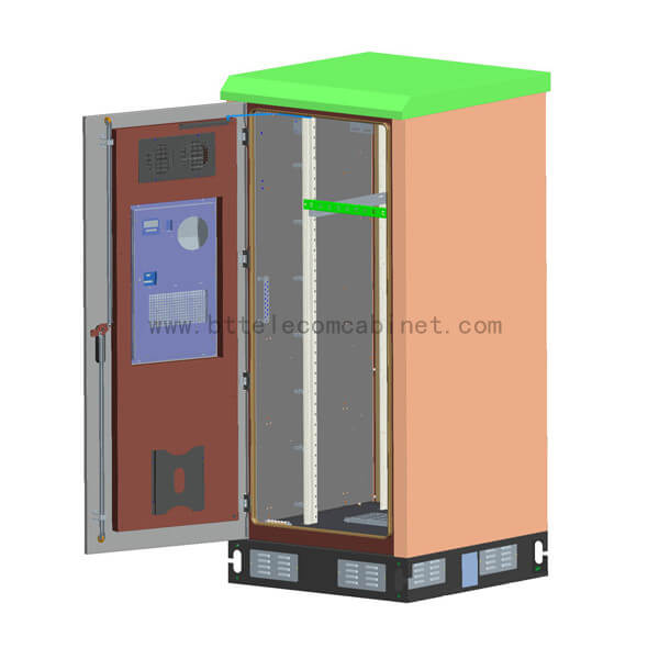 Cabinet suitable for outdoor environment, such as roadside, park, roof, mountain area and flat ground. Base station equipment, power supply equipment, storage battery, temperature control equipment, transmission equipment and other supporting equipment can be installed in the cabinet, or installation space and heat exchange capacity can be reserved for the above equipment, which can provide reliable mechanical and environmental protection for the normal operation of internal equipment.
