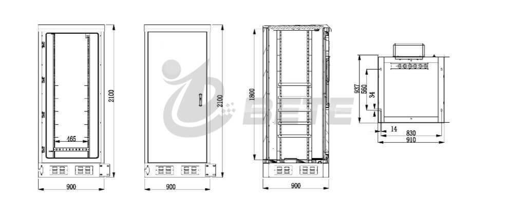 Outdoor Telecom Enclosure NEMA 4X Single Door 19 Inch Rack