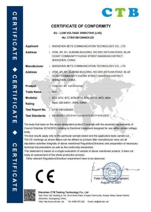 BETE CE-LVD 证书_00